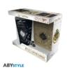 """Kép 1/4 - HARRY POTTER ajándékkészlet üvegpohár 400 ml + kitűző + zsebnotesz """"Marauder's map"""" csomag"""