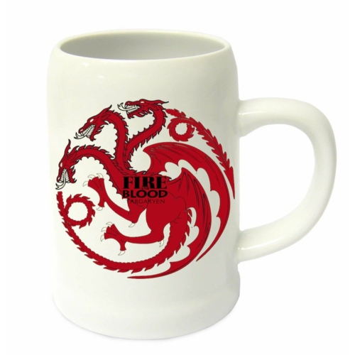 GAME OF THRONES  - Trónok Harca - Targaryen Fire and Blood fehér korsó 500 ml