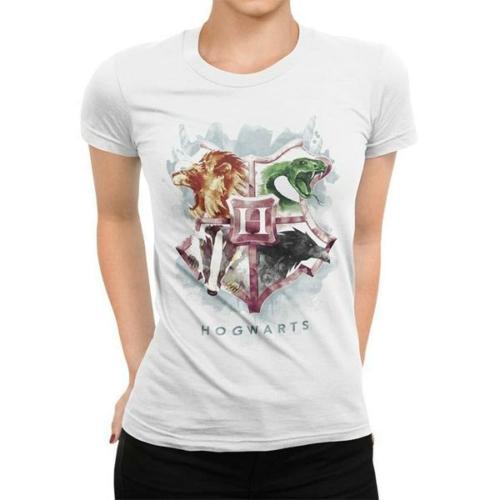 Harry Potter - Hogwarts Roxfort logo watercolour női póló M