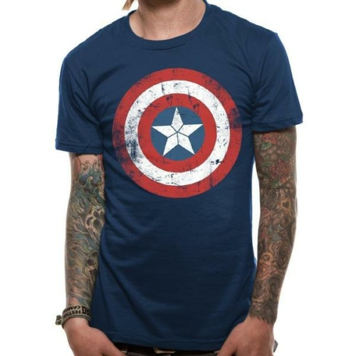 Captain America - Amerika Kapitány distressed shield póló