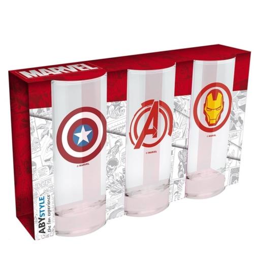 MARVEL Avengers Bosszúállók 3 db-os üvegpohár csomag 290 ml