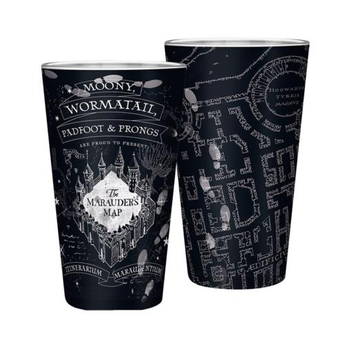 Harry Potter Marauders Map black - Tekergők térképe premium üvegpohár
