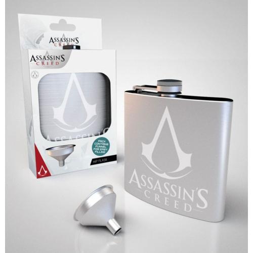 Assassin's Creed gamer fém laposüveg flaska tölcsérrel 200 ml