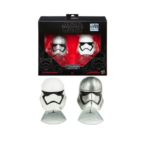 STAR WARS Csillagok Háborúja Captain Phasma & Stormtrooper gyűjtői fém sisak kollekció figura 6 cm