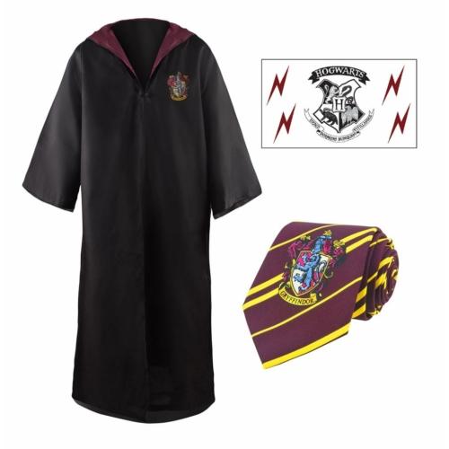 Harry Potter Gryffendale Gryffindor köpeny, nyakkendő és tetováló ajándék készlet