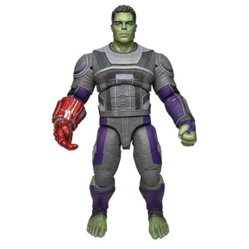 MARVEL Avengers: Endgame Select Hulk Hero Suit mozgatható figura cserélhető végtelen kesztyűvel 23 cm