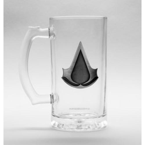 Assassin's Creed fém jelvénnyel díszített üveg korsó 500 ml