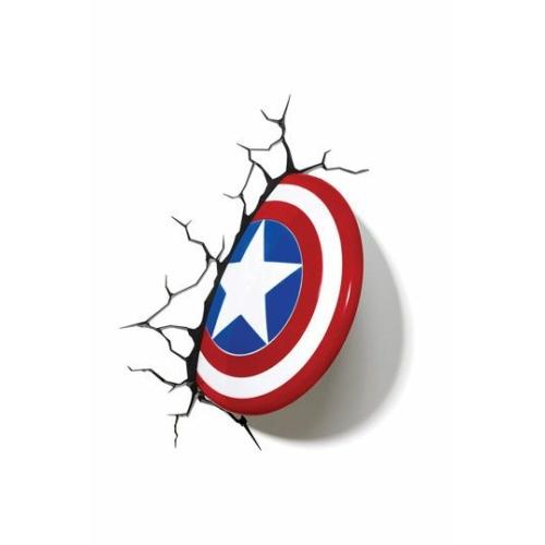 Marvel Captain America 3D LED Light Amerika Kapitány pajzs dekorációs lámpa 25 cm