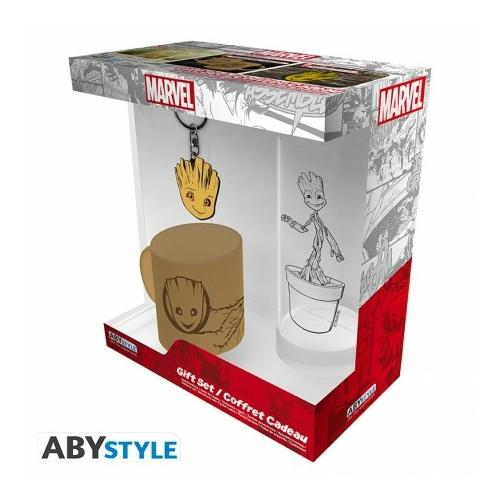 """MARVEL Groot ajándékkészlet csomag üveg pohár 290ml + kulcstartó + Mini kerámia bögre 110 ml """"Groot"""""""
