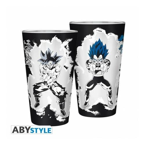 Dragon Ball Super Goku/Vegeta díszítésű üvegpohár 400 ml