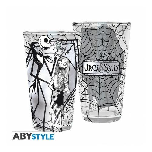 Nightmare Before Christmas NBX Jack & Sally díszítésű üvegpohár 400ml