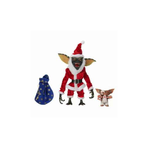 Ultimate NECA Gremlins / Szörnyecskék - Santa / Télapó Gremlin és Gizmo figura duplacsomag kiegészítőkkel, nyitható szájjal és extra-mozgatható végtagokkal 18 cm