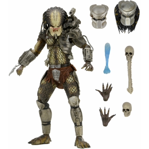 Jungle Hunter Predator figura - Ultimate NECA díszdobozos kiadás, cserélhető fejjel, maszkkal, trófeákkal és kiegészítőkkel  18-20 cm