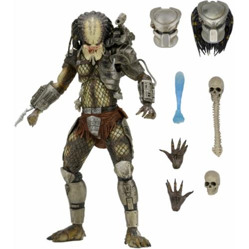 PREDATOR Jungle Hunter Predator figura - Ultimate NECA díszdobozos kiadás, cserélhető fejjel, maszkkal, trófeákkal és kiegészítőkkel  18-20 cm