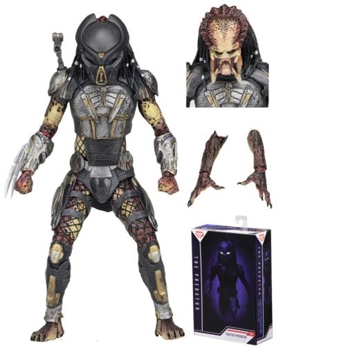 PREDATOR Fugitive 2018 figura - Ultimate NECA díszdobozos kiadás, maszkos és maszktalan fejekkel és cserélhető alkarokkal 18-20 cm