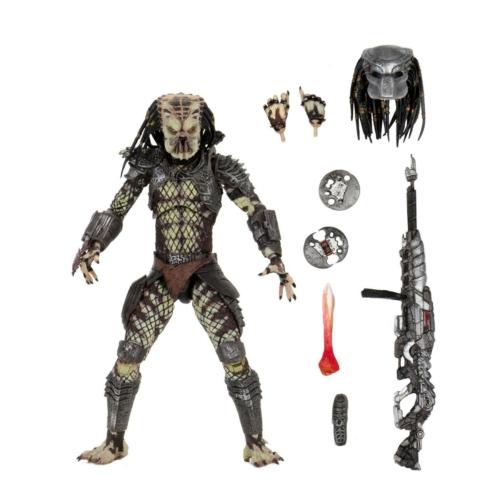 PREDATOR Ultimate NECA Scout Predator figura cserélhető fejekkel, lándzsával, puskával és dobótárcsákkal - Predator 2 30th Anniversary Collection extra-mozgatható gyűjtői figura 18-20 cm