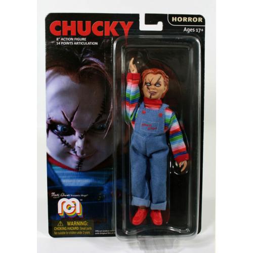 CHUCKY Child's Play retro szövetruhás varrott arcú mozgatható horror figura 20 cm