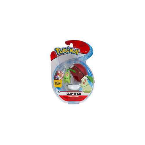 POKEMON POKEBALL clip n' go és 1db Chikorita Pokémon figura 5 cm