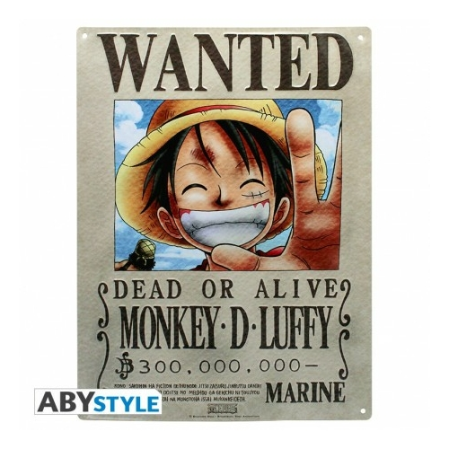 ONE PIECE Wanted Luffy fém plakát